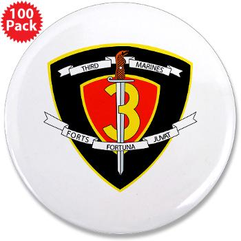 "HC3M - M01 - 01 - Headquarters Company 3rd Marines 3.5"" Button (100 pack)"