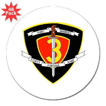 "HC3M - M01 - 01 - Headquarters Company 3rd Marines 3"" Lapel Sticker (48 pk)"
