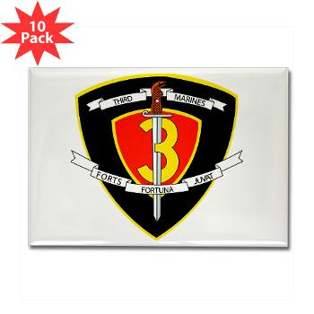 HC3M - M01 - 01 - Headquarters Company 3rd Marines Rectangle Magnet (10 pack)