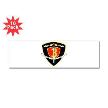 HC3M - M01 - 01 - Headquarters Company 3rd Marines Sticker (Bumper 10 pk)