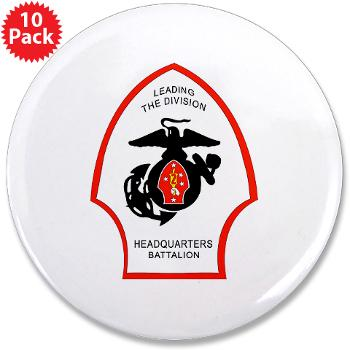 "HQB2MD - M01 - 01 - HQ Battalion - 2nd Marine Division - 3.5"" Button (10 pack)"