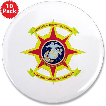 "HQBN2MLG - M01 - 01 - HQ Battalion - 2nd Marine Logistics Group - 3.5"" Button (10 pack)"