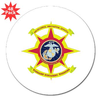 "HQBN2MLG - M01 - 01 - HQ Battalion - 2nd Marine Logistics Group - 3"" Lapel Sticker (48 pk)"