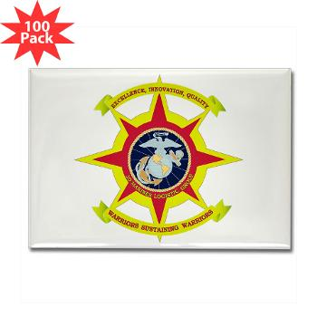 HQBN2MLG - M01 - 01 - HQ Battalion - 2nd Marine Logistics Group - Rectangle Magnet (100 pack)