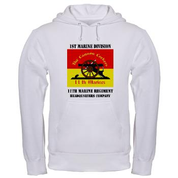HQC11M - A01 - 03 - HQ Coy - 11th Marines with Text Hooded Sweatshirt