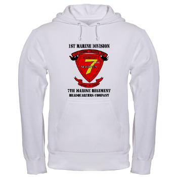 HQC7M - A01 - 03 - HQ Coy - 7th Marines with Text Hooded Sweatshirt