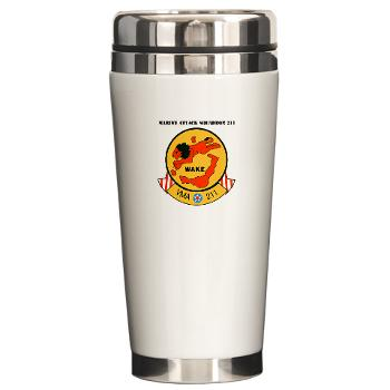 MAS211 - M01 - 03 - Marine Attack Squadron 211 with Text Ceramic Travel Mug
