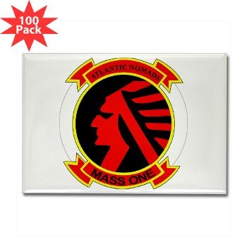 MASS1 - M01 - 01 - Marine Air Support Squadron 1 (MASS-1) - Rectangle Magnet (100 pack)