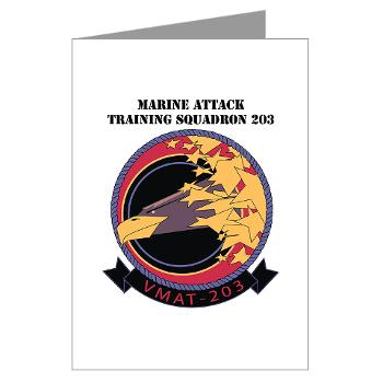 MATS203 - M01 - 02 - Marine Attack Training Squadron 203 (VMAT-203) with text - Greeting Cards (Pk of 10)
