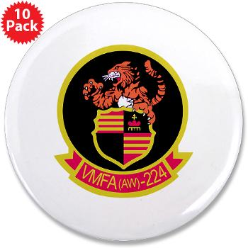 "MAWFAS224 - M01 - 01 - Marine All Weather Fighter Attack Squadron 224 (VMFA(AW)-224) - 3.5"" Button (10 pack)"