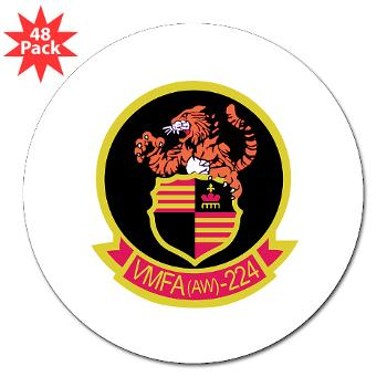 "MAWFAS224 - M01 - 01 - Marine All Weather Fighter Attack Squadron 224 (VMFA(AW)-224) - 3"" Lapel Sticker (48 pk)"
