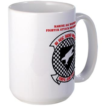 MAWFAS553 - M01 - 03 - Marine All Weather Fighter Attack Squadron 553 (VMFA(AW)-553) with Text - Large Mug