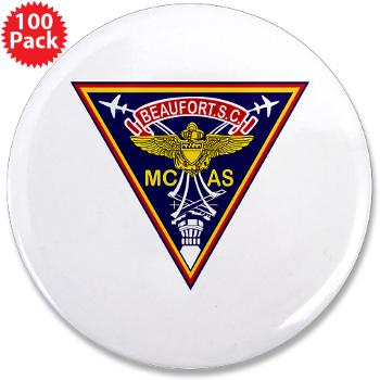 "MCASB - M01 - 01 - Marine Corps Air Station Beaufort - 3.5"" Button (100 pack)"