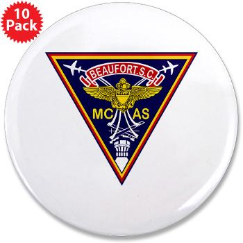 "MCASB - M01 - 01 - Marine Corps Air Station Beaufort - 3.5"" Button (10 pack)"