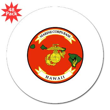 "MCBH - M01 - 01 - Marine Corps Base Hawaii - 3"" Lapel Sticker (48 pk)"