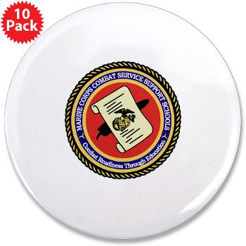 "MCCSSS - M01 - 01 - Marine Corps Combat Service Support Schools - 3.5"" Button (10 pack)"