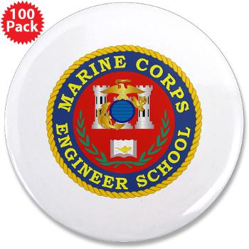 "MCES - M01 - 01 - Marine Corps Engineer School - 3.5"" Button (100 pack)"