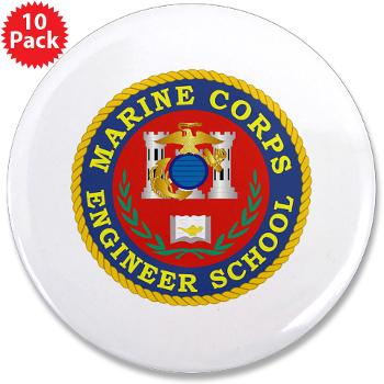"MCES - M01 - 01 - Marine Corps Engineer School - 3.5"" Button (10 pack)"