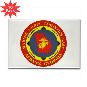 MCLBA - M01 - 01 - Marine Corps Logistics Base Albany - Rectangle Magnet (10 pack)