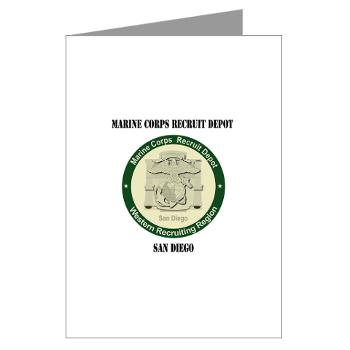 MCRDSD - M01 - 02 - Marine Corps Recruit Depot San Diego with Text - Greeting Cards (Pk of 20)