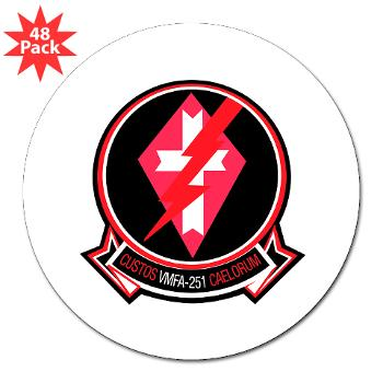 "MFAS251 - M01 - 01 - Marine Fighter Attack Squadron 251 (VMFA-251) - 3"" Lapel Sticker (48 pk)"