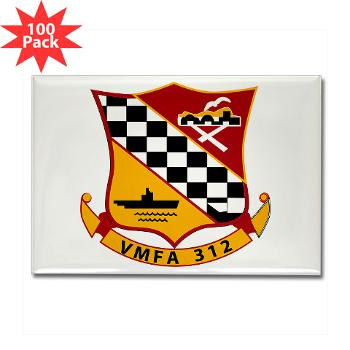 MFAS312 - A01 - 01 - USMC - Marine Fighter Attack Squadron 312 (VMFA-312) - Rectangle Magnet (100 pack)