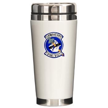 MFATS501 - A01 - 01 - USMC - Marine Fighter Attack Training Squadron 501 (VMFAT-501) with Text - Ceramic Travel Mug
