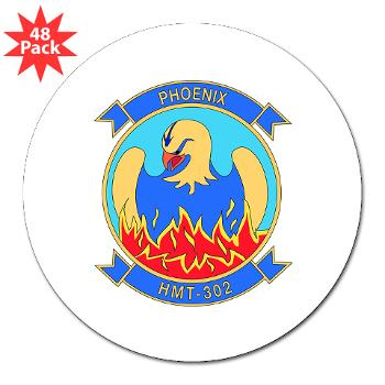 "MHHTS302 - M01 - 01 - Marine Heavy Helicopter Training Squadron 302 (HMHT-302) 3"" Lapel Sticker (48 pk)"