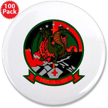 "MLAHS167 - M01 - 01 - Marine Light Attack Helicopter Squadron 167 (HMLA-167) 3.5"" Button (100 pack)"