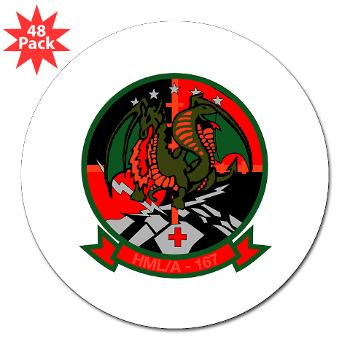 "MLAHS167 - M01 - 01 - Marine Light Attack Helicopter Squadron 167 (HMLA-167) 3"" Lapel Sticker (48 pk)"