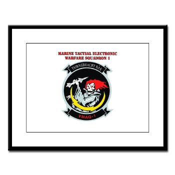 MTEWS1 - M01 - 02 - Marine Tactical Electronic Warfare Squadron with Text Large Framed Print