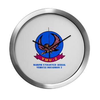 MTEWS2 - M01 - 03 - Marine Unmanned Aerial Vehicle Squadron 2 (VMU-2) with Text - Modern Wall Clock