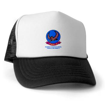 MUAVS2 - A01 - 02 - Marine Unmanned Aerial Vehicle Squadron 2 (VMU-2) with Text - Trucker Hat