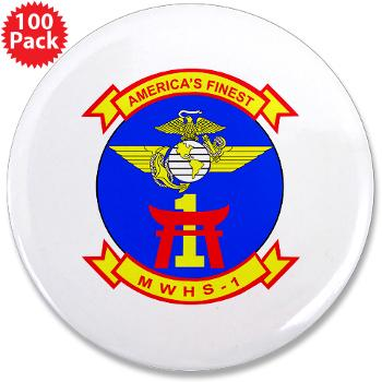 "MWHS1 - M01 - 01 - Marine Wing Headquarters Squadron 1 - 3.5"" Button (100 pack)"