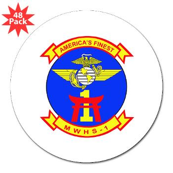 "MWHS1 - M01 - 01 - Marine Wing Headquarters Squadron 1 - 3"" Lapel Sticker (48 pk)"