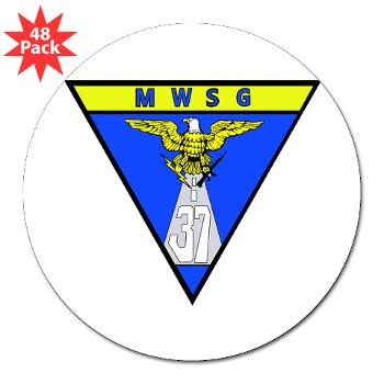 "MWSG37 - M01 - 01 - Marine Wing Support Group 37 - 3"" Lapel Sticker (48 pk)"