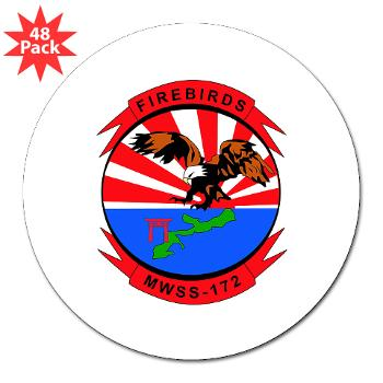 "MWSS172 - M01 - 01 - Marine Wing Support Squadron 172 3"" Lapel Sticker (48 pk)"