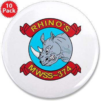 "MWSS374 - M01 - 01 - Marine Wing Support Squadron 374 - 3.5"" Button (10 pack)"