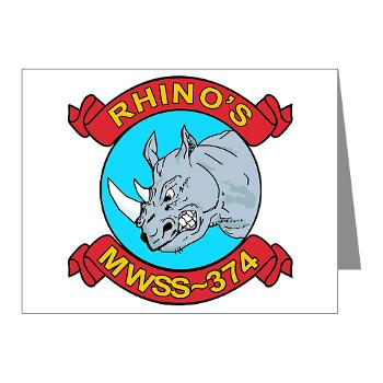 MWSS374 - M01 - 02 - Marine Wing Support Squadron 374 - Note Cards (Pk of 20)