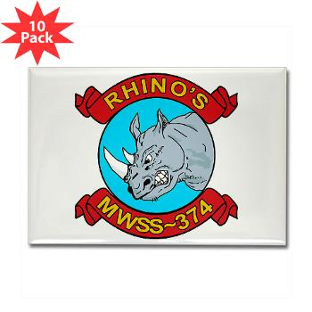 MWSS374 - M01 - 01 - Marine Wing Support Squadron 374 - Rectangle Magnet (10 pack)