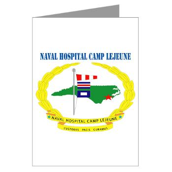 NHCL - M01 - 02 - Naval Hospital Camp Lejeune with Text - Greeting Cardrds (Pk of 20)