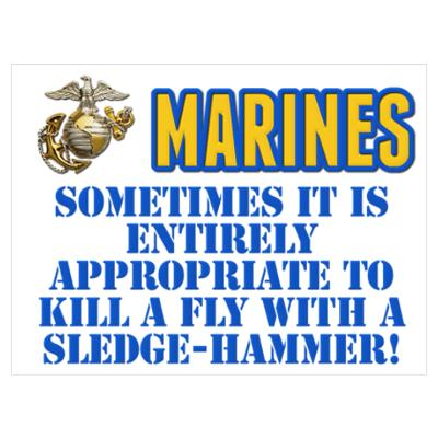 Marines Kill Fly with Sledge Hammer P Poster